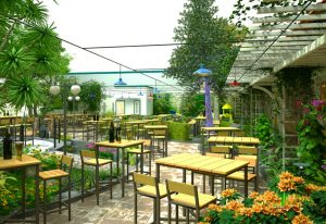 Nha Hang San Vuon Phong Cach Don Gian 3